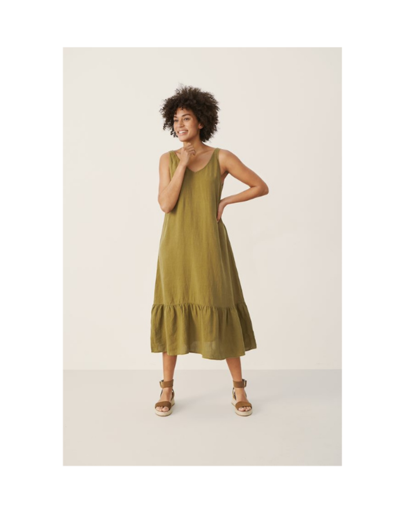 Part Two Ilu Linen Dress in Olive by Part Two