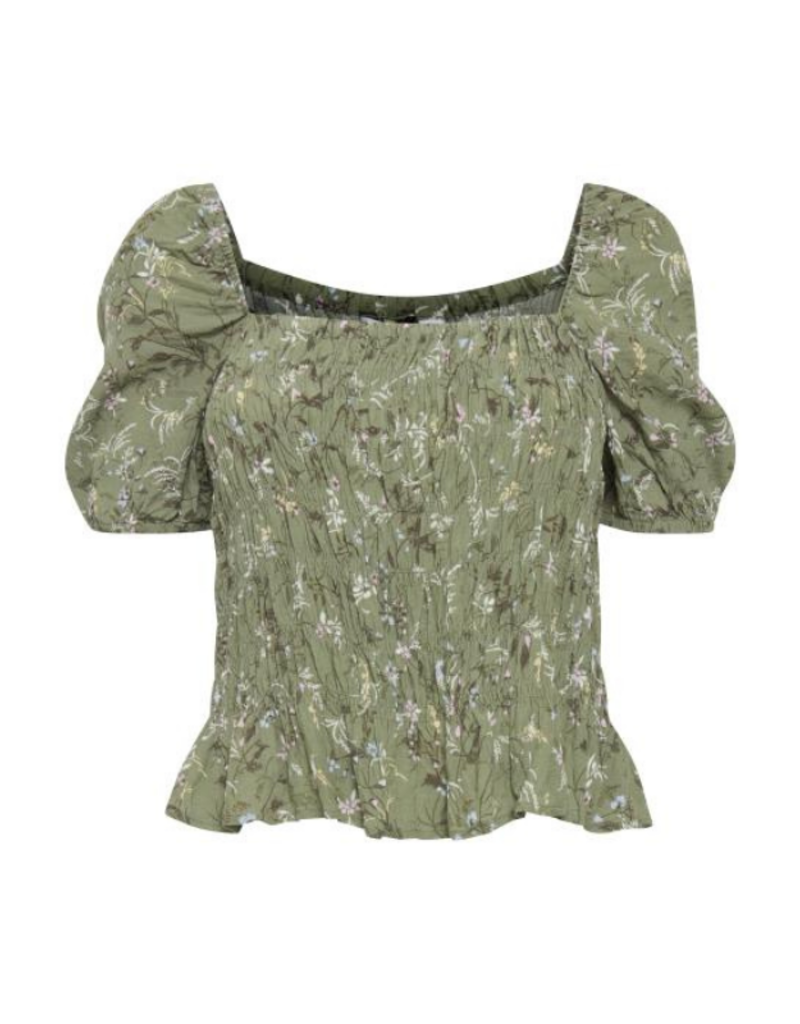 b.young Flaminia Smock Top in Oil Green Mix by b.young