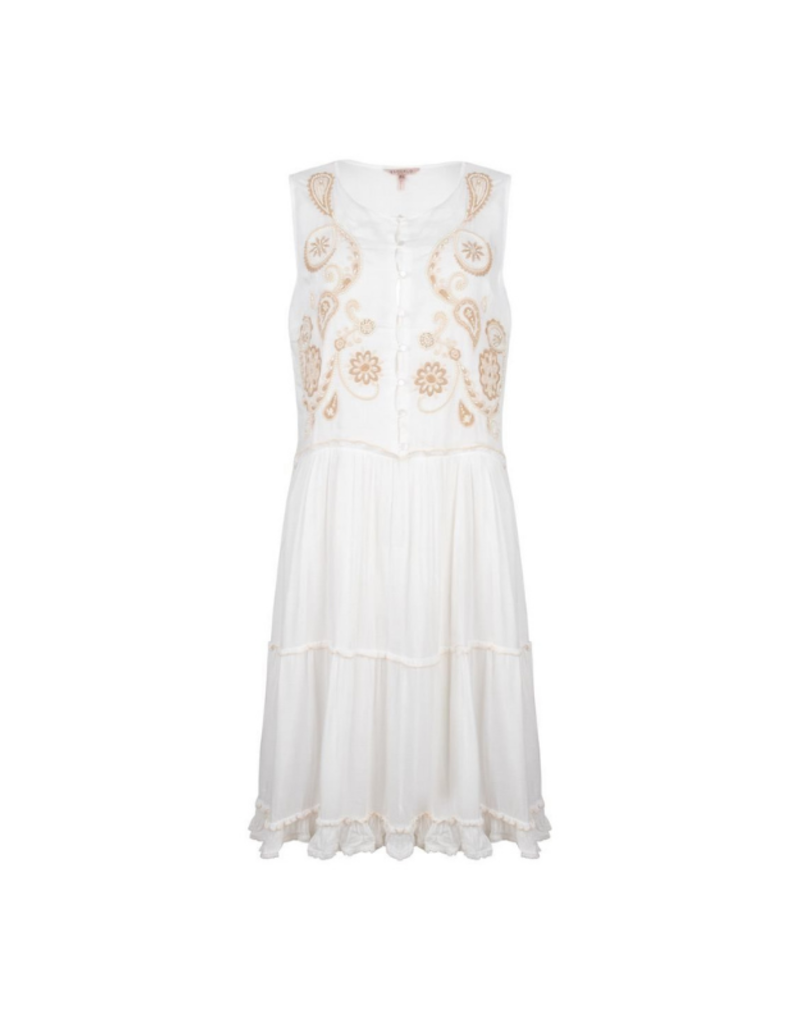 ESQUALO Beaded Embroidery Dress in White by EsQualo