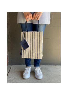 Brave Brown Bag Nantucket Midi Bag in Indigo Stripe by Brave Brown Bag