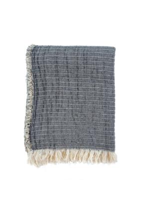 Indaba Trading Grey Kantha-Stitch Throw