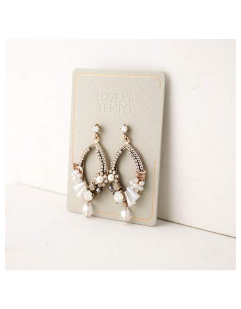Lover's Tempo Flora Deco Drop Earrings in White by Lovers Tempo