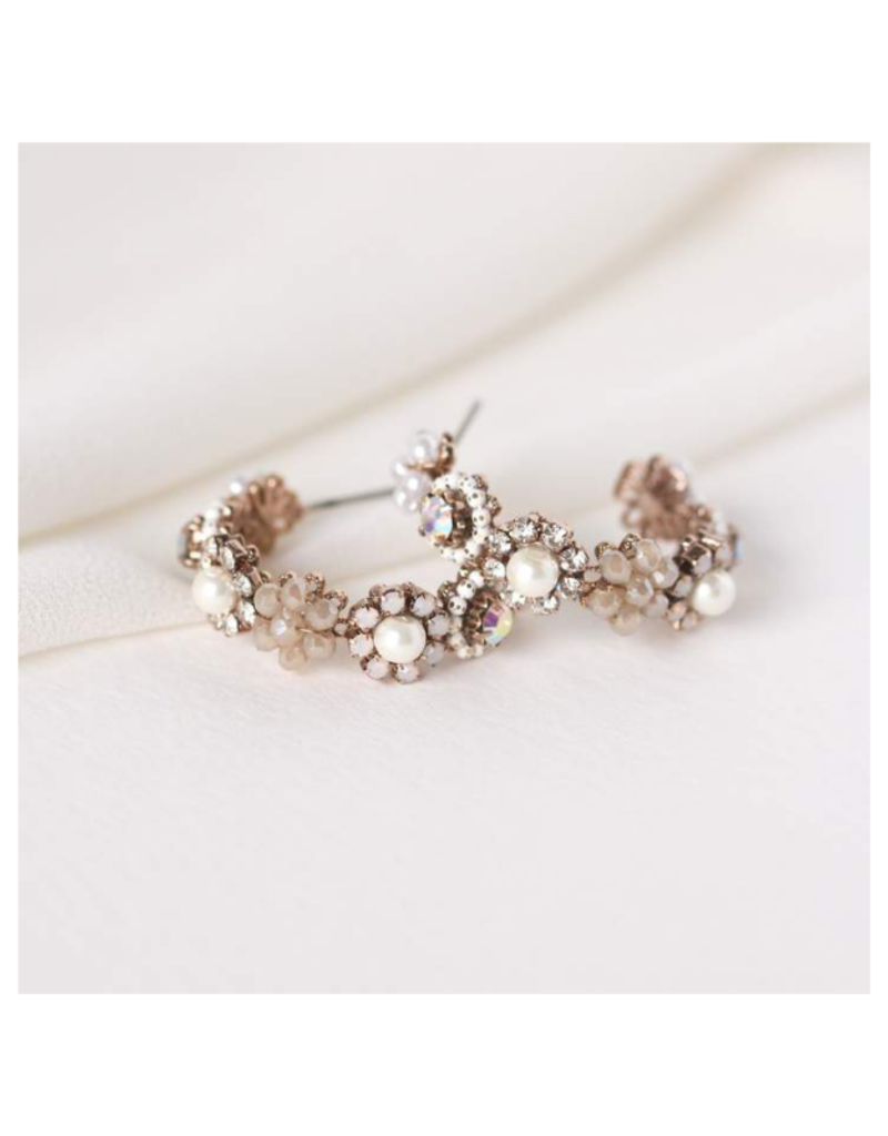 Lover's Tempo Bloom Crystal Hoop Earrings in White by Lovers Tempo