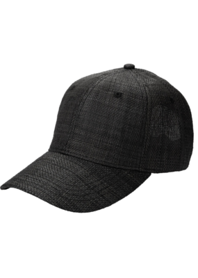 San Diego Hats Woven Raffia Ball Cap With Leather Adjustable Back  in Black by San Diego Hat Company