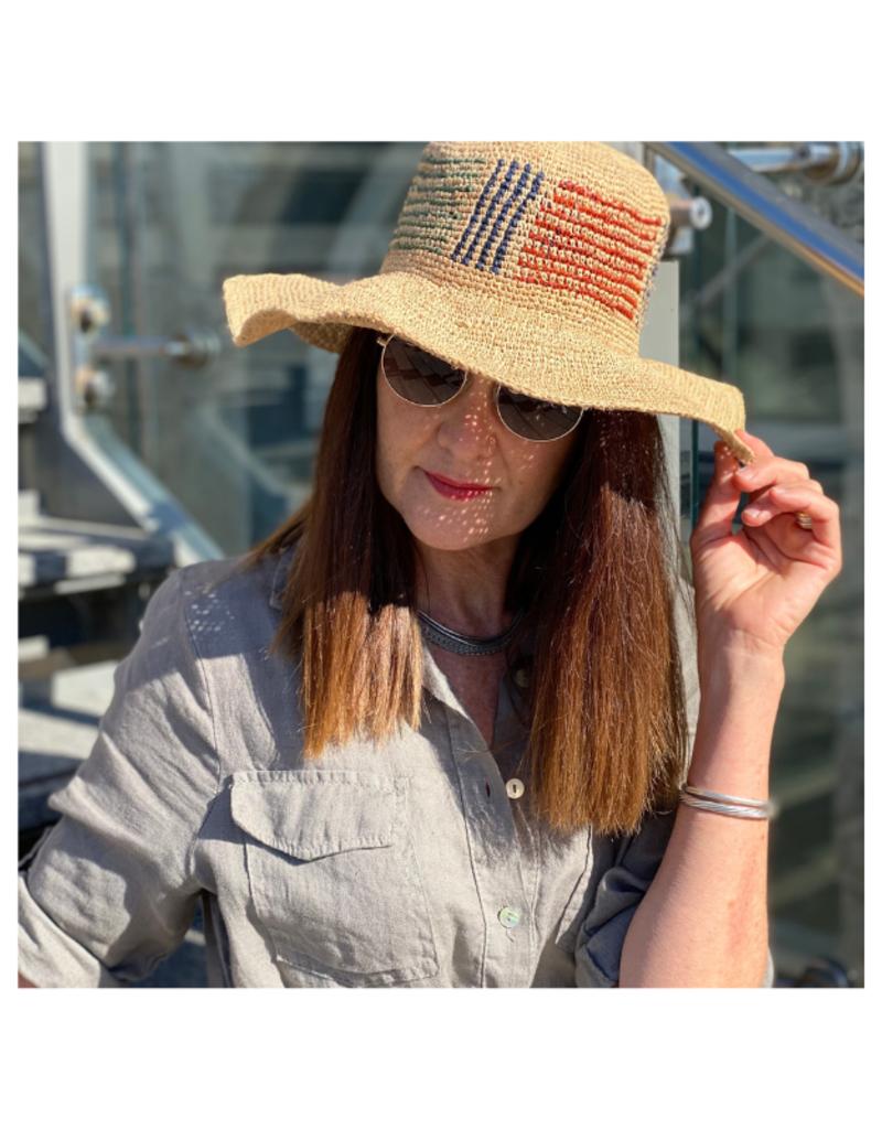 San Diego Hats Crochet Raffia Hat with Stripe Pattern by San Diego Hat Company