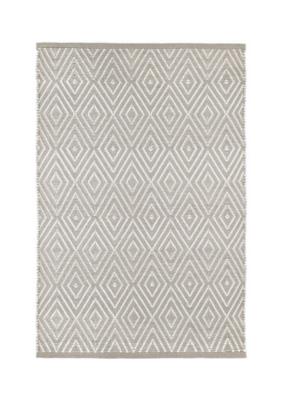 Dash & Albert Dash & Albert Diamond Indoor/Outdoor Rug in Platinum & White