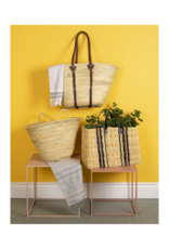 Tall Straw Market Bag with Leather Straps