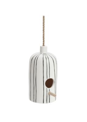 Ceramic Bottle Birdhouse with Rope