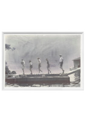 """""""Morning Tennis"""" - Indigo Stained Small Art Print"""