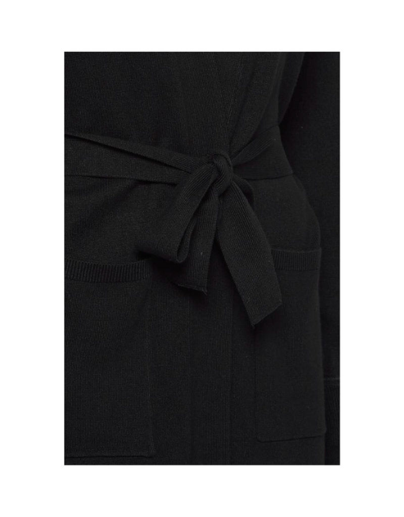 b.young Pimba Belt Cardigan in Black by b.young