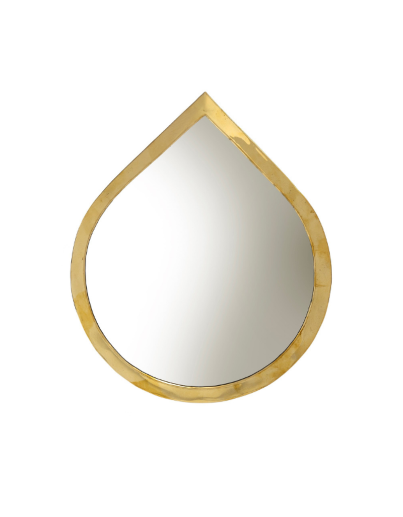 Indaba Trading Water Drop Mirror Large in Brass by Indaba