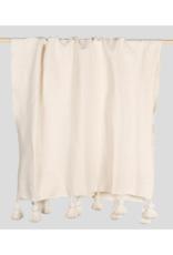 Pokoloko Moroccan Pom Pom Blanket in Solid White by Pokoloko