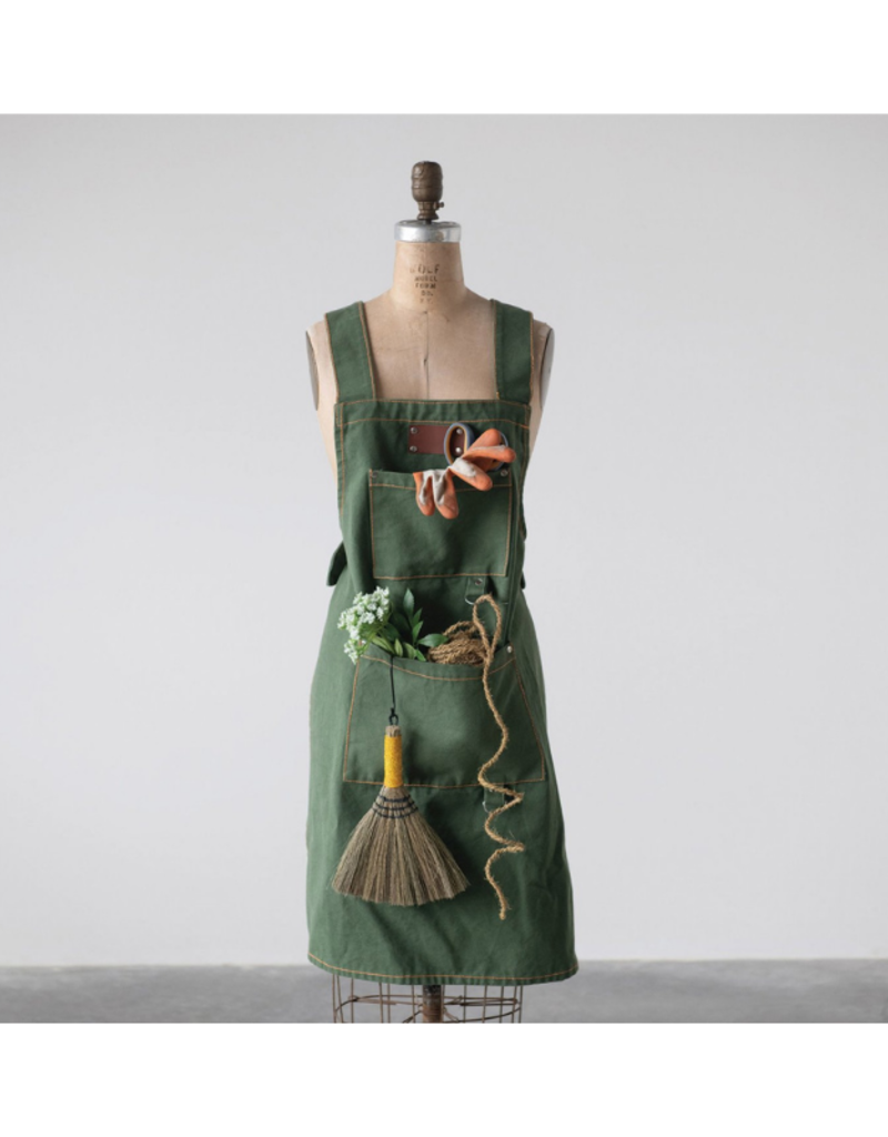 Green Cotton Cross Back Apron with Pockets