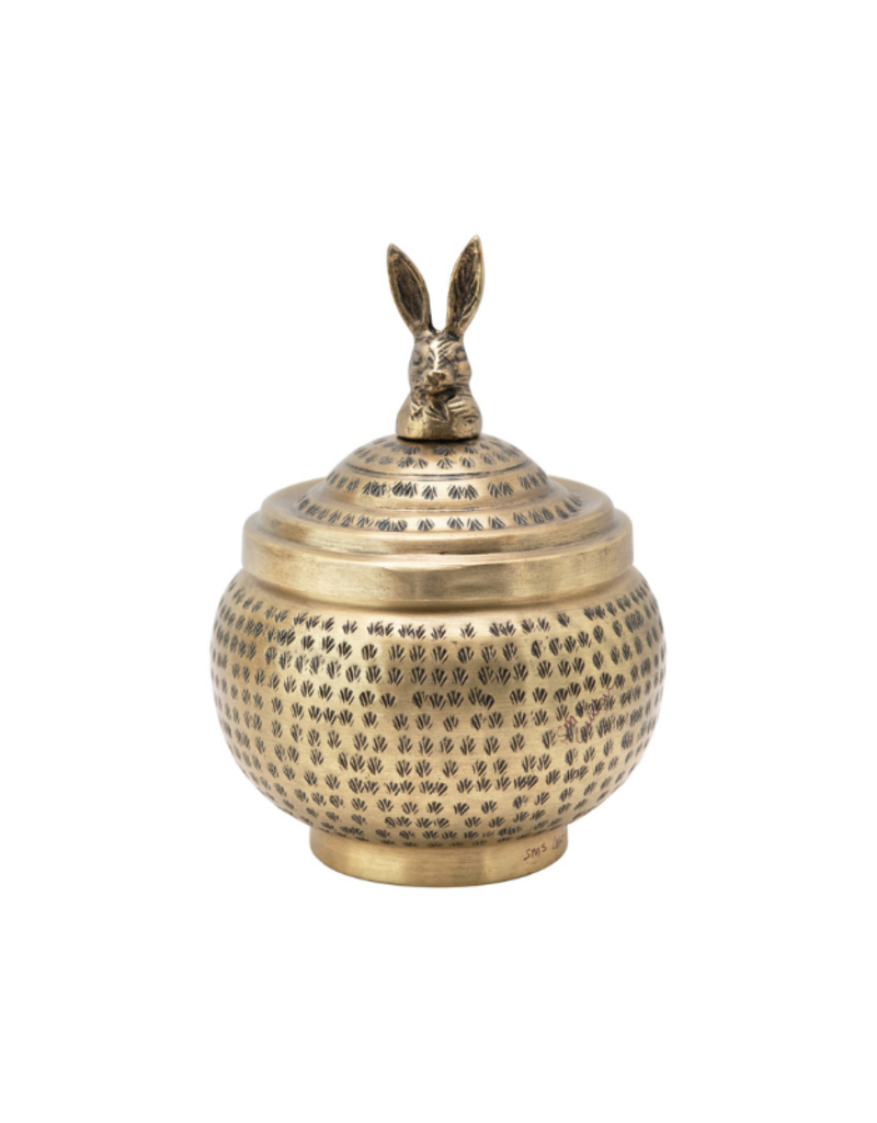 Hammered Brass Container with Rabbit Finial