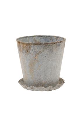 Distressed Zinc Metal Planter with Saucer