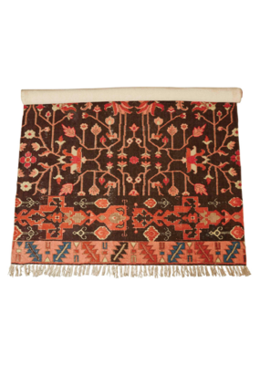 4' x 6' Woven Cotton Printed Rug in Red/Coral