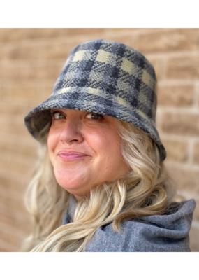 San Diego Hats Gala Checkered Machine Knit Bucket Hat in Grey by San Diego Hat Comany