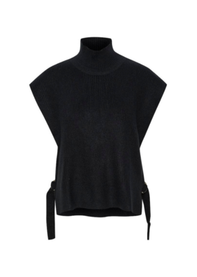 Cream Omint Knit Sweater in Pitch Black by Cream