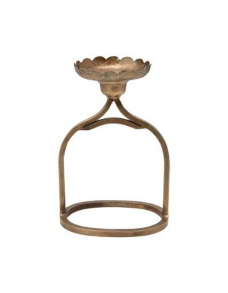 Antique Brass Pillar Candle Holder