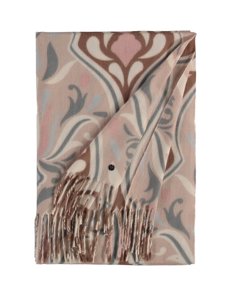 Fraas Ornamental Brocade Scarf in Taupe