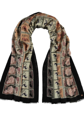 Fraas Love Stamps Wool Wrap in Charcoal