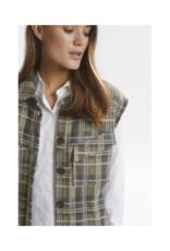 LOUNGE NINE Silje Vest in Greige Check by Lounge Nine