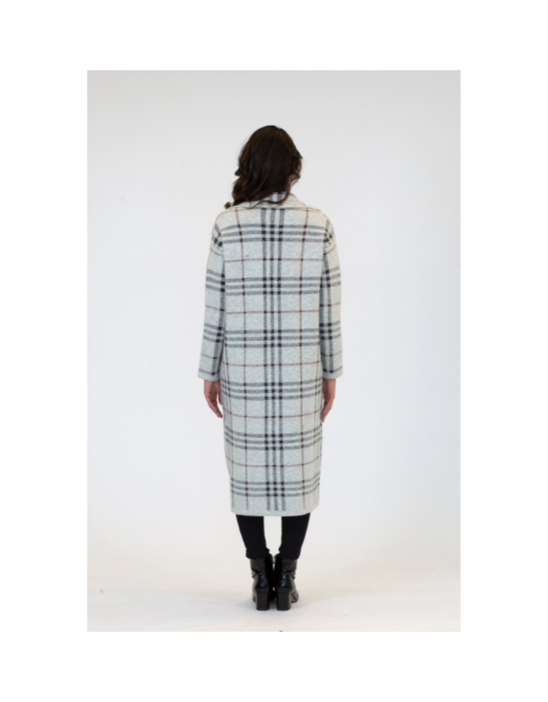 Lyla & Luxe Jimmi Plaid Long Coat in Ice Grey by Lyla & Luxe