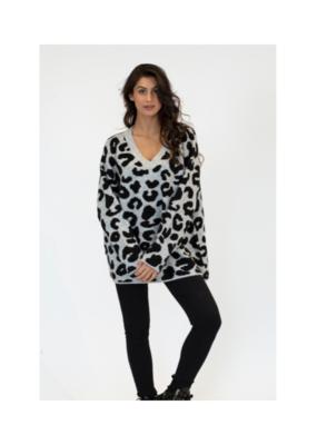 Lyla & Luxe Dotty  Leopard Sweater in Grey by Lyla & Luxe