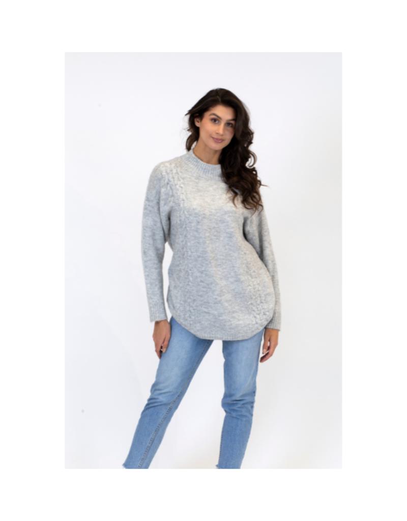 Lyla & Luxe Elena Mock Neck Sweater in Light Grey by Lyla & Luxe