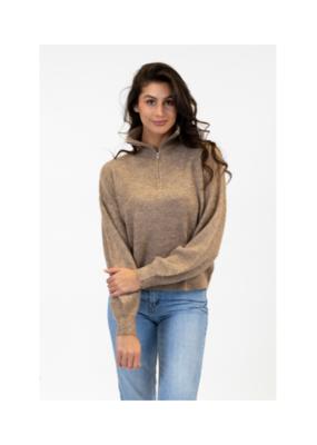 Lyla & Luxe Helga Half Zip Sweater in Driftwood by  Lyla & Luxe