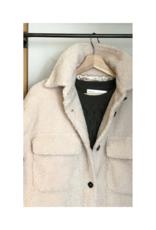 ESQUALO Long Teddy Coat in Off-White by ESQUALO