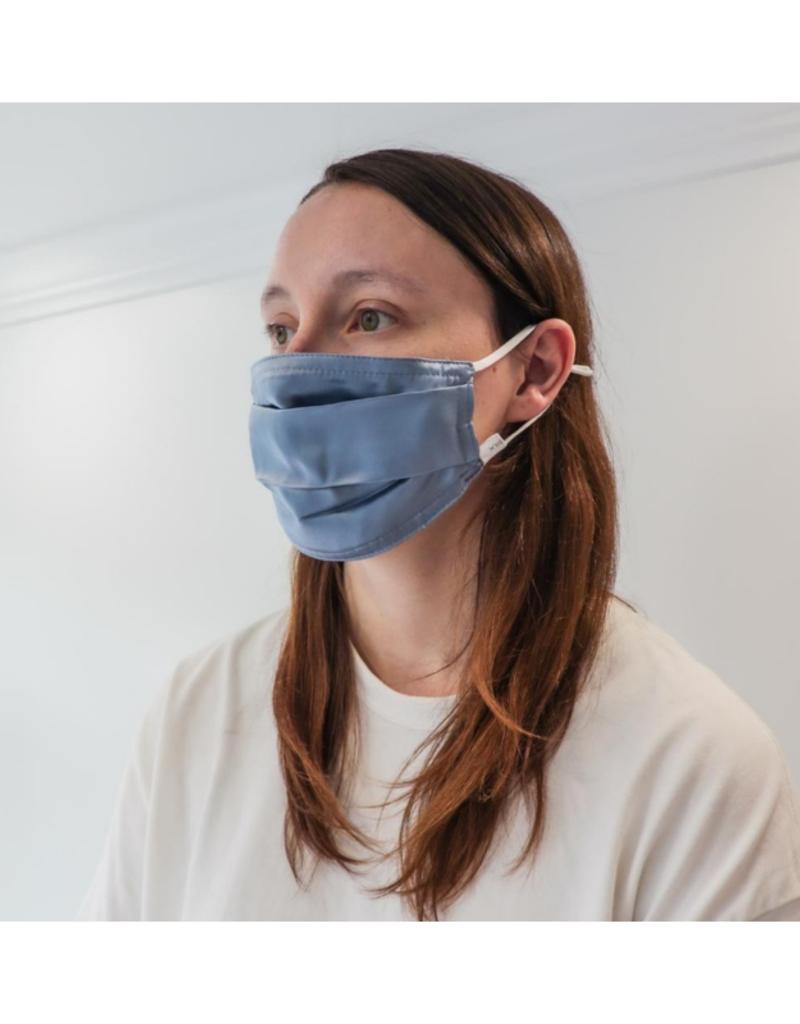 lemonwood Silk Face Mask Pleated in Mid Blue