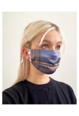lemonwood Pleated Silk Face Mask Blue & Brown Plaid