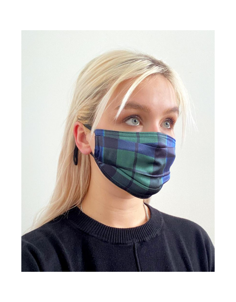 lemonwood Pleated Silk Face Mask The Kate Plaid