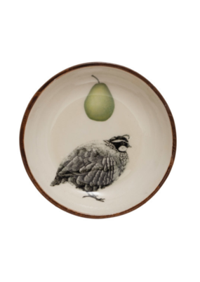 Acacia Wood Bowl with Pear & Partridge