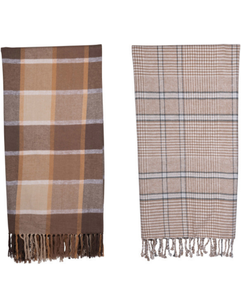 Brown Cotton Throw with Fringe