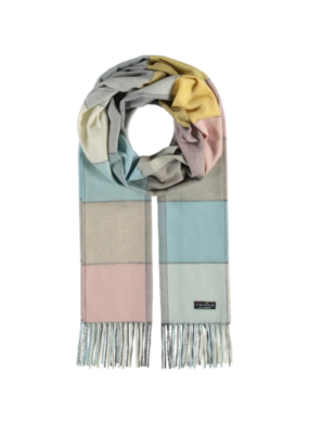 Fraas Multi Colour Block Cashmink Scarf in Off White
