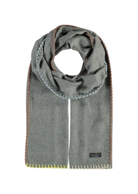 Fraas Contrast Stitch Cashmink Scarf in Grey