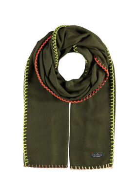 Fraas Contrast Stitch Cashmink Scarf in Olive
