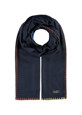Fraas Contrast Stitch Cashmink Scarf in Navy