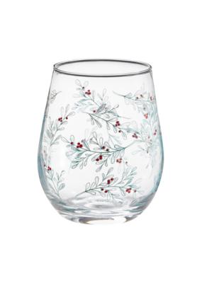 Green Sprig Stemless Wine Glass