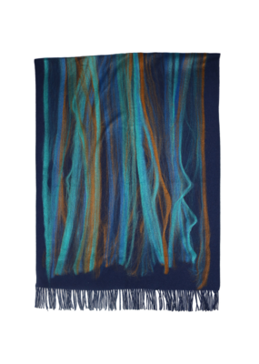 Fraas Ombre Needle Punch Scarf in Navy