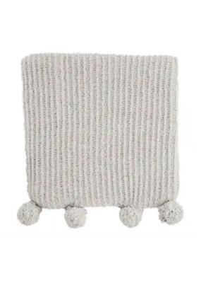 Chenille Pom Pom Blanket in Grey