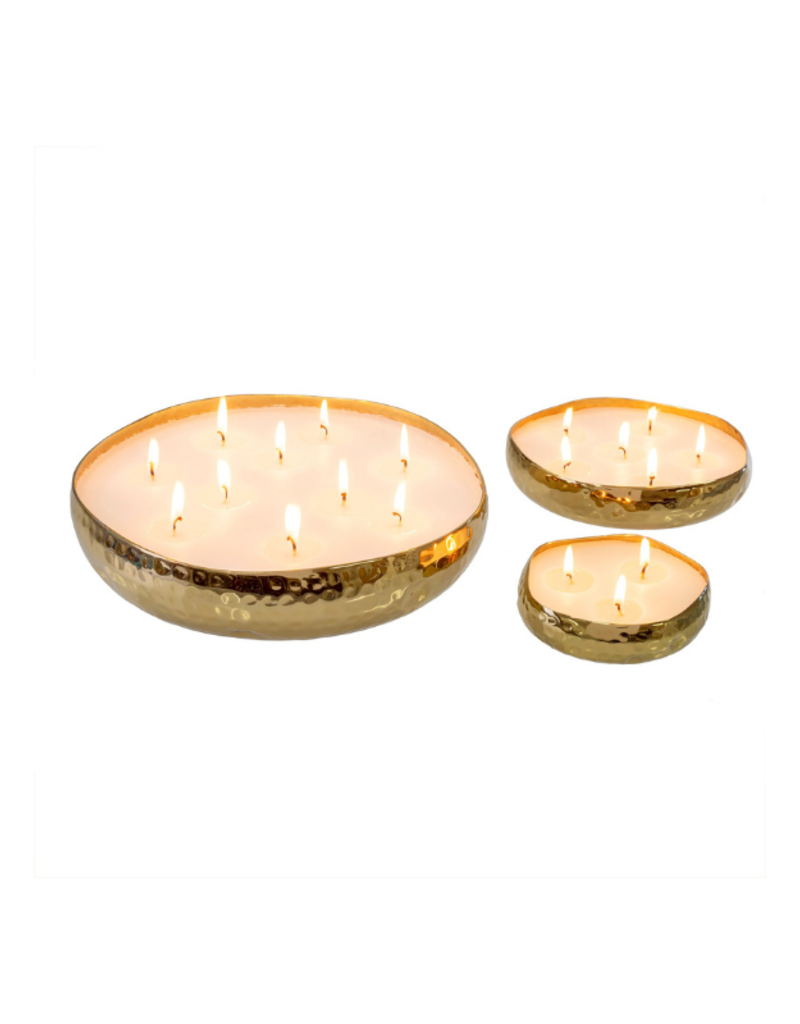 Indaba Trading Amber Spruce Multi-Flame Gold Candle Small