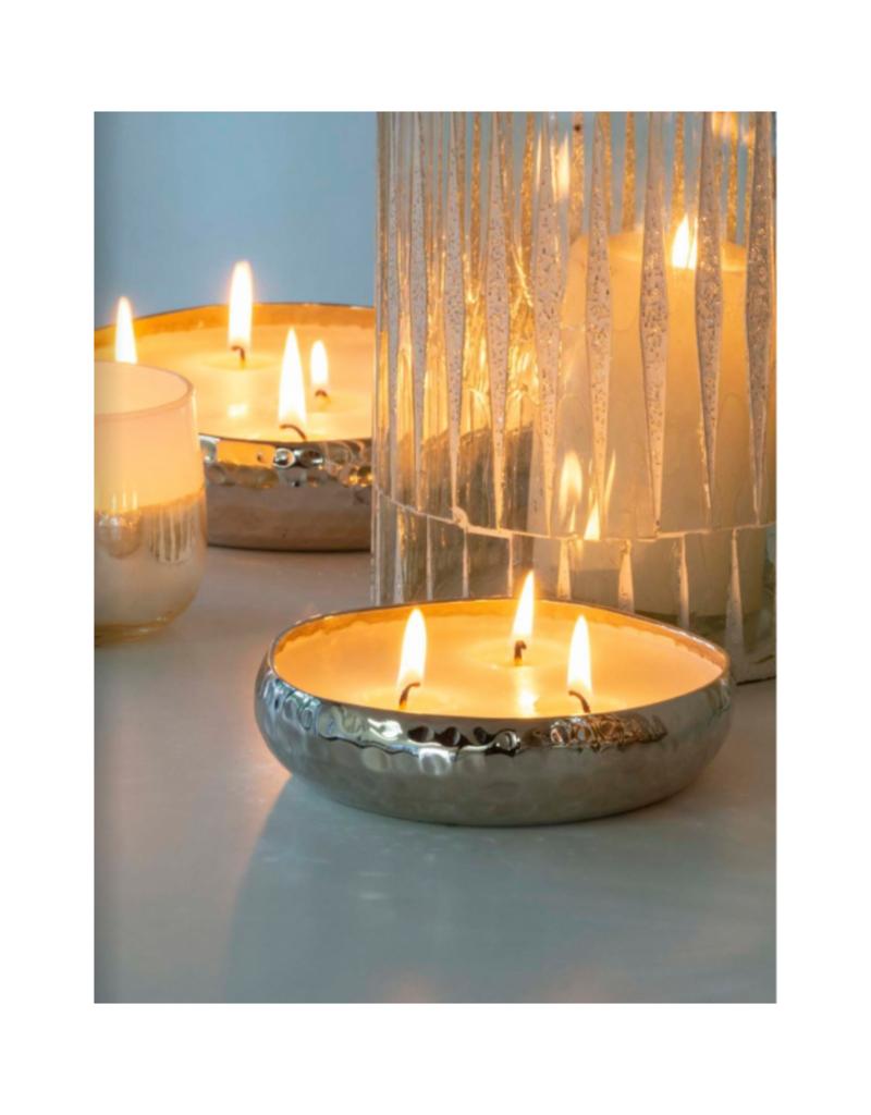 Indaba Trading Amber Spruce Multi-Flame Silver Candle Large