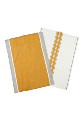 Indaba Trading Set of 2 French Stripe Linen Tea Towels in Mustard Yellow