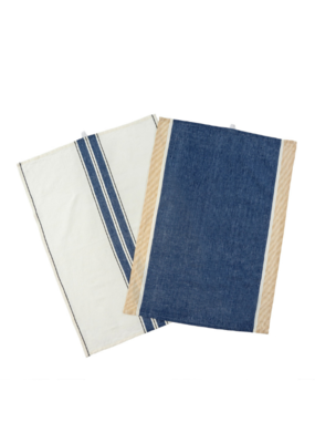 Indaba Trading Set of 2 French Stripe Linen Tea Towels in Blue