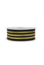 "Metallic Black & Gold Striped Ribbon 7/8"""