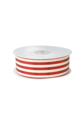 "Metallic Red & Ivory Striped Ribbon 7/8"""