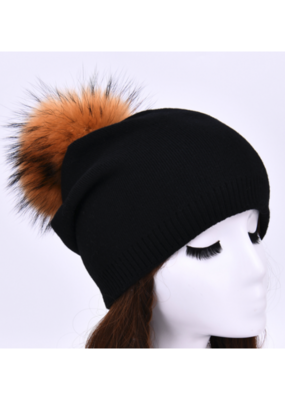PNYC PNYC Evelyn Beanie Black with Natural Faux Pom
